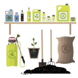 Set of agricultural and garden items for fertilizing