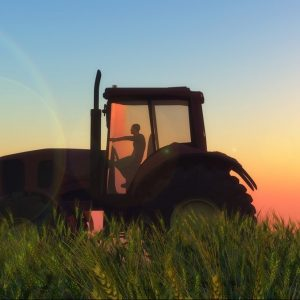 illustration of a tractor circulating in wheat field