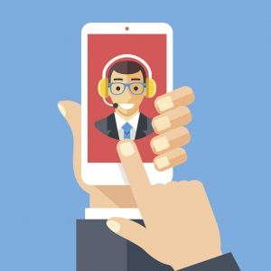 Customer support operator on smartphone screen. Technical support, customer service concepts. Hand holding smartphone, finger touching screen. Modern flat design graphic elements. Vector illustration