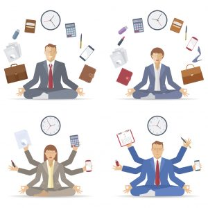 Businessman and businesswoman meditates in the lotus pose in the workplace. Managers sitting in the medbnation. Mutlitasking and time management flat vector concept illustration. Infographic element.